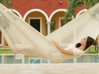 Cotton Mexican Hammock in plain cream colour