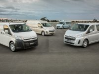 2019 Toyota HiAce Range (L-R) LWB Van, SLWB Van with option pack, Commuter GL and LWB Crew Van.