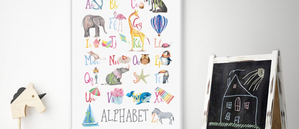 WATERCOLOUR ALPHABET EDUCATIONAL ART PRINT
