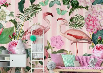 'Flamingo Rendezvous' Mural by Andrea Haase at Wallsauce.com