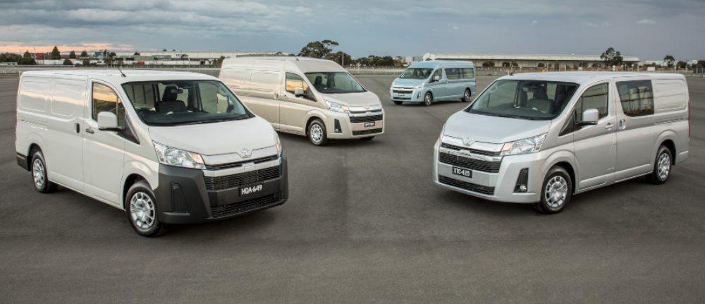 2019 Toyota HiAce Range (L-R) LWB Van, SLWB Van with option pack, Commuter GL and LWB Crew Van.